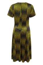Mustard Houndstooth Asymmetric A-line Dress - 2