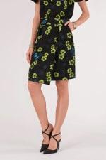 Black Floral Pencil Skirt - 1