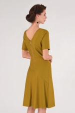 Mustard A-Line Pleated Dress - 2