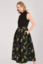 Closet Gold Lime Floral Full Skirt 2 in 1 Dress - 1