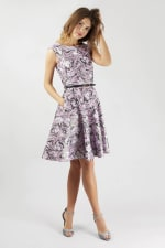 Closet Gold Lilac Belted Skater Dress - 2