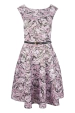 Closet Gold Lilac Belted Skater Dress - 3