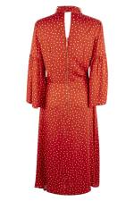 Red Polka Dot Split Sleeve Midi Dress - 4