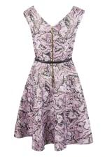 Closet Gold Lilac Belted Skater Dress - 4
