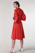 Red Polka Dot Split Sleeve Midi Dress - 2