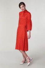 Red Polka Dot Split Sleeve Midi Dress - 1