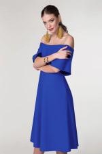 Blue Off The Shoulder A-Line Dress - 5