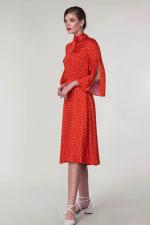 Red Polka Dot Split Sleeve Midi Dress - 5
