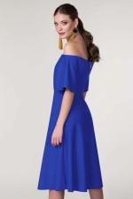 Blue Off The Shoulder A-Line Dress - 3