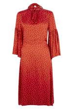 Red Polka Dot Split Sleeve Midi Dress - 3