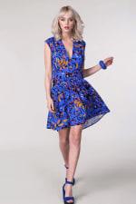 Blue Drop Waist Wrap Dress - 1