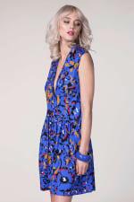 Blue Drop Waist Wrap Dress - 4