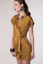 Camel Satin Wrap & Tie Kimono Playsuit - 5