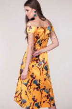 Closet Gold Yellow Bardot High Low Dress - 2