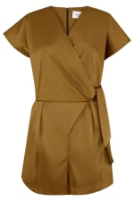 Camel Satin Wrap & Tie Kimono Playsuit - 3