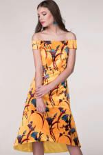Closet Gold Yellow Bardot High Low Dress - 4