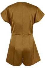 Camel Satin Wrap & Tie Kimono Playsuit - 4