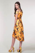 Closet Gold Yellow Bardot High Low Dress - 3