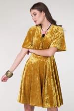 Gold Wrap Over Circle Skirt Dress - 1