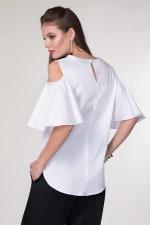 White Cold-Shoulder Blouse - 2