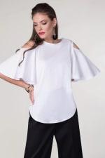 White Cold-Shoulder Blouse - 1