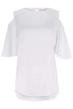 White Cold-Shoulder Blouse - 3