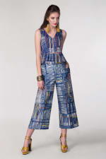 Blue Cropped High-Waisted Pants - 5