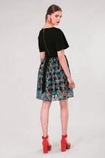 Black 2 in 1 Sheer Skirt Dress - 5
