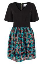 Black 2 in 1 Sheer Skirt Dress - 1