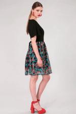 Black 2 in 1 Sheer Skirt Dress - 4