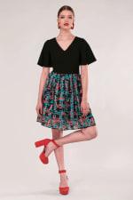 Black 2 in 1 Sheer Skirt Dress - 3