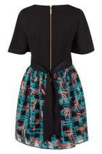 Black 2 in 1 Sheer Skirt Dress - 2