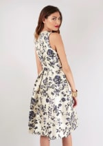 Navy Floral Printed Pleated Wrap Dress - 2