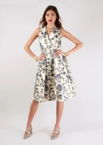 Navy Floral Printed Pleated Wrap Dress - 1