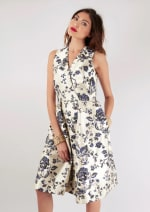Navy Floral Printed Pleated Wrap Dress - 4