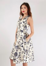Navy Floral Printed Pleated Wrap Dress - 5