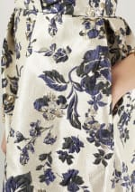 Navy Floral Printed Pleated Wrap Dress - 3