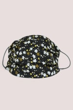 Black Floral Double Layer Fabric Face Mask - 1