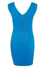 Blue Pleated Shoulder Pencil Dress - 2