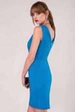 Blue Pleated Shoulder Pencil Dress - 4