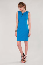 Blue Pleated Shoulder Pencil Dress - 5