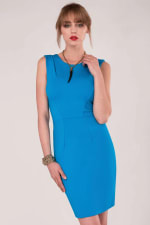 Blue Pleated Shoulder Pencil Dress - 3