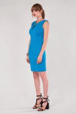 Blue Pleated Shoulder Pencil Dress - 6