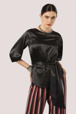 Black Puff Sleeve & Tie Blouse - 1
