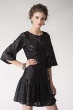 Black Metallic Lace Frill Hem Dress - 1