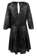 Black Metallic Lace Frill Hem Dress - 6
