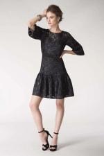 Black Metallic Lace Frill Hem Dress - 3
