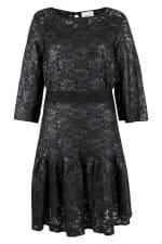 Black Metallic Lace Frill Hem Dress - 5