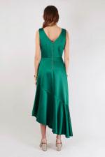 Closet Gold Green Asymmetric Frill Dress - 2