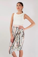 Ivory Draped Top and Skirt Dress - 5